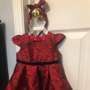 Holiday Red Satin dress + matching bow 9-12 mo